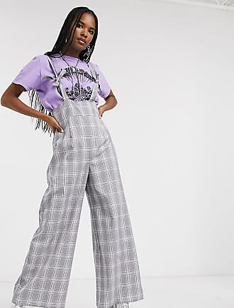Reclaimed Vintage inspired braces jumpsuit with knot detail in lilac check-Multi