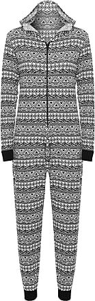 WearAll Womens Animal Aztec Zebra Print Onesie Ladies Playsuit Long Hooded Jumpsuit - Aztec - 12/14