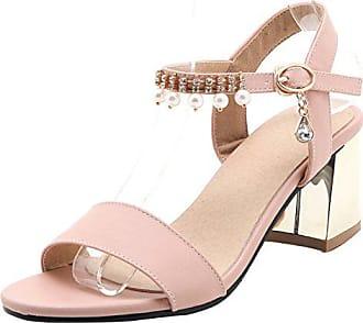 c9098636a99952 Aiyoumei Damen Knöchelriemchen Sandalen mit Perlen und Schnalle Blockabsatz  Sommer Chunky Heels Schuhe