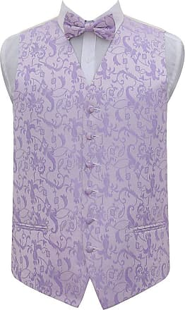 DQT Mens Passion Floral Wedding Waistcoat Bow Tie & Hanky (38, Lilac)