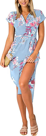 Yoins Women V Neck Dress Floral Print Short Sleeve Midi Dress Summer Casual Split Dress Floral 01-Light Blue S
