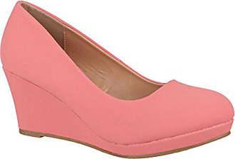 Elara Damen Pumps Keilabsatz Wedges Schuhe mit Plateau  Chunkyrayan B8011  Pink-38 215168493d