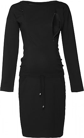 Happy Mama Womens Maternity Nursing Sweatshirt Dress Long Sleeve Pockets. 709p (Black, UK 18, 2XL)