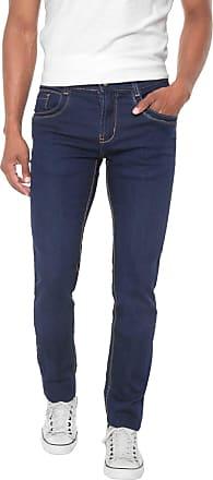 Sawary Calça Jeans Sawary Slim Pespontos Azul-marinho