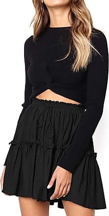 JERFER Womens Elastic High Waisted Loose Skirt Bandage Stretch Bodycon Below Knee Skirt Autumn Skirt Fall Skirt for Women Black