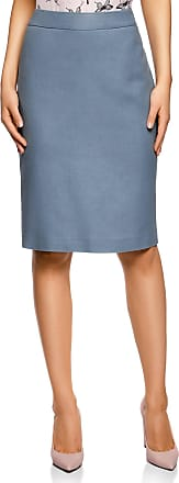 oodji Collection Womens Classic Pencil Skirt, Blue, UK 8 / EU 38 / S