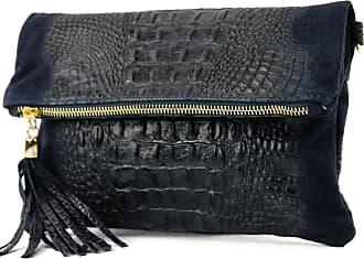 modamoda.de ital. Leather bag clutch bag shoulder bag suede/croco T54KR, Colour:Dark Blue Suede/crocodile