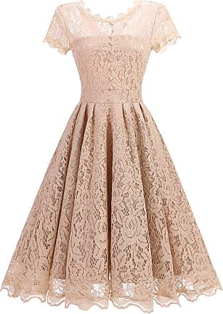 OLIPHEE Womens Vintage 1950s Lace Overlay Double Layer Knee Length Skater Swing Dresses Beige UK 14-16(Tag L)