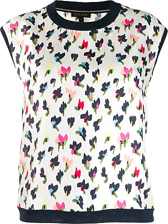 Escada sleeveless leopard-print shirt - Branco
