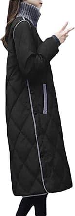 VITryst Womens Long Sleeve Stand Collar Pocket Zipper Down Winter Warm Jacket Coat Outwear,Black,XX-Large