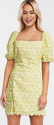 Object broderie milkmaid mini dress with puff sleeves in yellow-Green