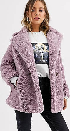 Qed London Cappotto teddy doppiopetto-Viola
