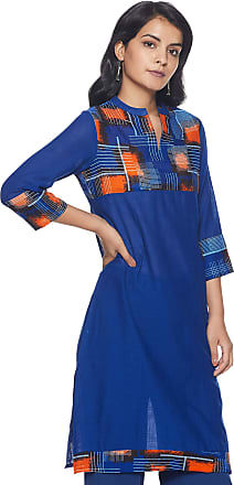 Indigo Womens Cotton Straight Kurti (SS-19/BC-94 A_ Blue_ X-Large)
