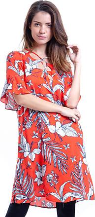 101 Resort Wear Vestido 101 Resort Wear Forrado Viscose Estampa Coral