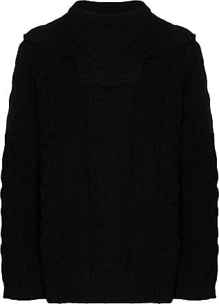 Raf Simons Aran cable knit layered jumper - Preto