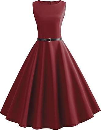 iShine Womens Sleeveless Vintage Dress 1950s Classy Hepburn Retro Rockabilly Swing Dress for Evening Party Ball Wine Red