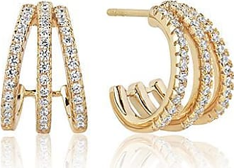 Sif Jakobs Jewellery Earrings Ozieri Tre Piccolo - 18k gold plated with white zirconia