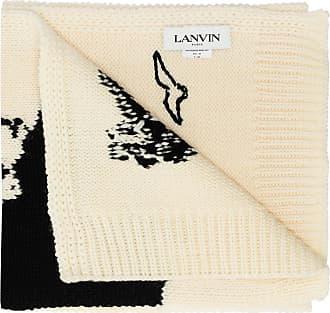 Lanvin Patterned Wool Scarf Mens Beige