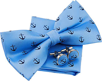 Retreez Classic Anchor Pattern Woven Microfiber Pre-tied Bow Tie (Width: 5) with matching Pocket Square and Cufflinks, Gift Box Set as a Christmas Gift, Birth