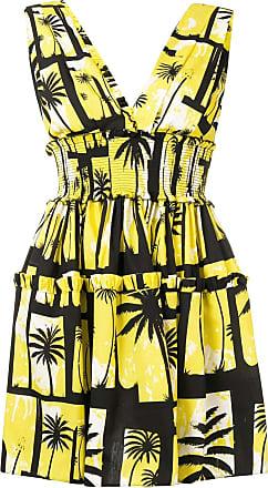 FAUSTO PUGLISI Vestido com estampa de palmeiras - Amarelo