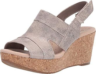 927f79d21f3 Clarks Womens Annadel Ivory Wedge Sandal Pewter Suede 110 W US