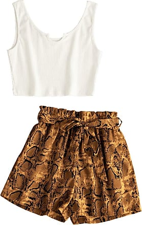 Zaful Womens Animal Print Ribbed Cropped Top and Snake Print Shorts Set (S, Multi-A)