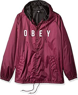 Obey Mens Anyway Coaches Jacket, Raspberry, Large