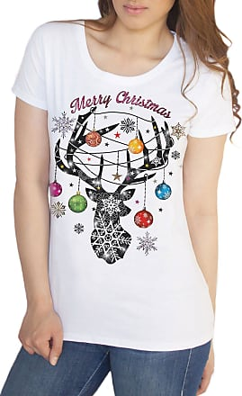 Irony Womens Top Merry Christmas Xmas Reindeer Jingle Bells Snowflakes TS1060 (White, XXLarge)