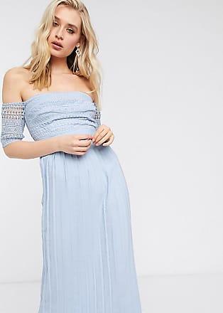Little Mistress Tall Plissiertes Midaxi-Kleid in Blau mit Spitze