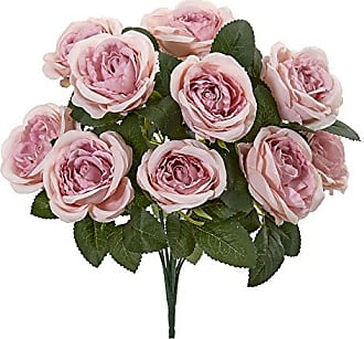 Nearly Natural 2257-S6-PK 14 Rose Bush Artificial (Set of 6) Silk Flowers Pink