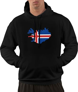 Not Applicable Clothing Mens Long Sleeve Hoodies Iceland Map Flag Pullover Hooded Sweatshirt with Pockets Black