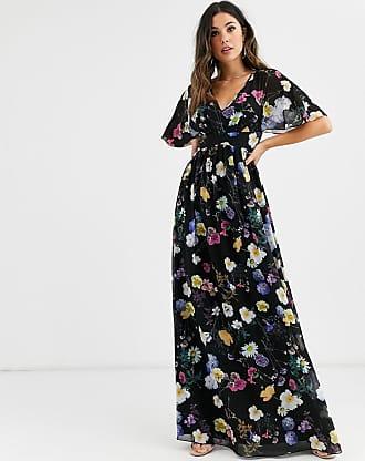 Little Mistress floral kimono maxi dress-Multi