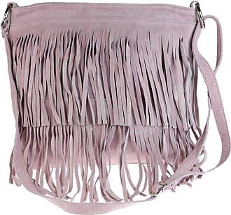 Girly HandBags Girly HandBags New Large Genuine Suede Fringe Shoulder Bag Crossbody Slouch Elegant Designer Womens Fashion - Light Pink
