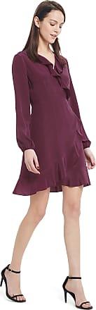 LilySilk Silk Wrap Dress for Women Evening Ruffled with Silk Tie-Dark Natural Mulberry Silk Long Sleeve Burgundy-M