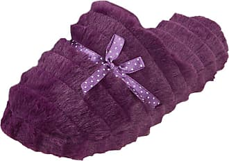 Forever Dreaming Ladies Womens Mule Slippers Memory Foam Polka Dot Faux Fur New Plum
