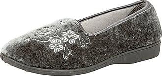 Zedzzz Womens/Ladies Jenny Embroidered Slippers (7 UK) (Grey)