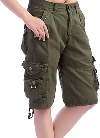 Daytwork Women Casual Cargo Shorts - Straight Cotton Cycling Camping Combat Pants with Multi Pockets Knee High Relaxed fit Green