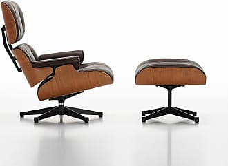 Vitra Tall Eames Lounge Chair & Ottoman Chocolate Leather & Cherry