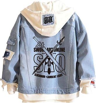 Cosstars Anime Sword Art Online SAO Hooded Denim Jacket Unisex Cosplay Button Trucker Jeans Coat Blue-1-L
