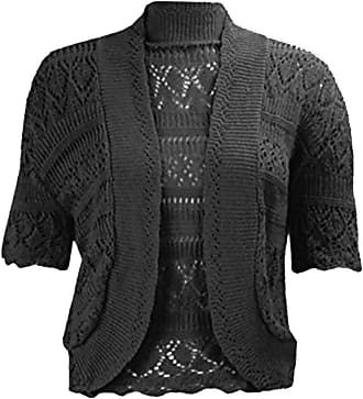 21Fashion Ladies Fancy Crochet Knitted Bolero Shrug Cardigan Womens Short Sleeve Crop Top Black 2X Large