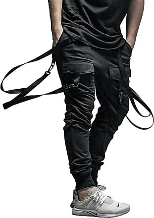 TOMWELL Mens Skinny Jeans Slim Fit Fashion Hip Hop Drop Crotch Pants Harem Trousers with Streamers Black Joggers Black B EU M