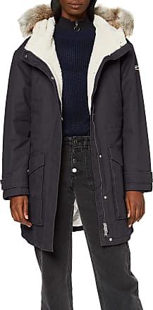 Tommy Jeans Womens Tjw Essential Lined Cotton Parka Jacket, (Black Bbu), X-Large