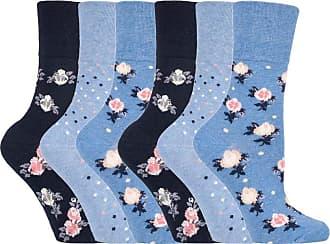 SockShop 6 pairs Ladies SockShop Cotton Gentle Grip UK 4-8, EUR 37-42 Socks - NEW variations (6 x RH177 Micro Blossom)