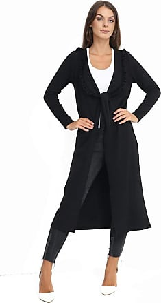 Top Fashion18 Ladies Plus Size Long Sleeved Frill Neck Knot Duster Dress Jacket Coat Size 8-24 Black