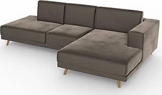 MYCS Ecksofa Samt Sandgrau - Flexible Designer-Polsterecke, L-Form: Beste Qualität, einzigartiges Design - 264 x 75 x 162 cm, konfigurierbar