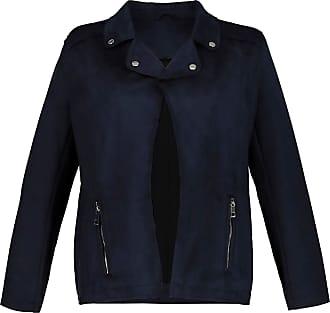 Ulla Popken Womens Plus Size Faux Suede Biker Jacket Navy 28/30 724263 70-54+