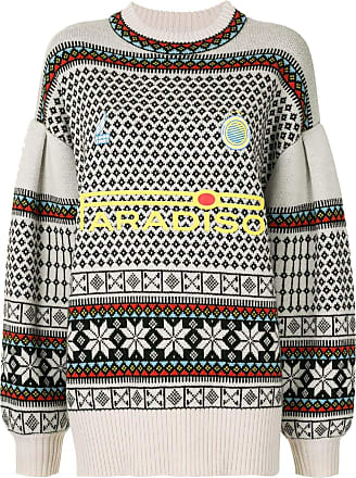 Ground-Zero Suéter oversized com estampa geométrica - Branco