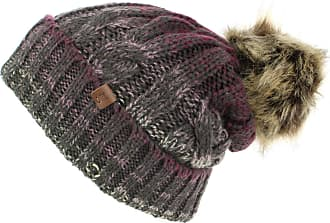 Hawkins Cable Knit Beanie Hat with Contrast Turn-up and Faux Fur Bobble - Purple