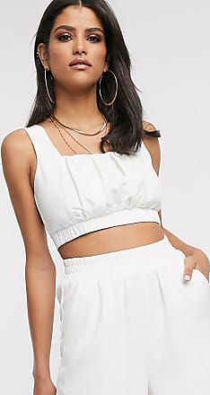4th + Reckless Tall exclusive ruched crop top in white
