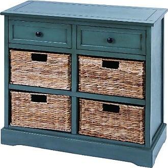 UMA Enterprises Inc. Deco 79 96183 Wood Wicker Basket Dresser, 30 x 28, Blue Gray